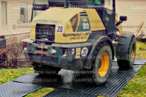 truck on plastic plates garden work